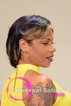 Left Side View of a Bob Hairstyle for Black Women with Blonde Highlights from Alisa Green