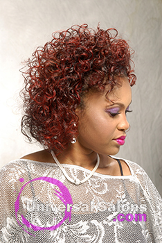 Right View of a Curly Hairstyle for Block Women with Hair Color from Pam Webster
