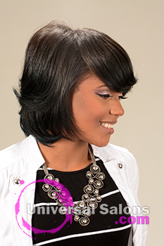 Right Side View of a Mid Length Bob Hairstyle for Black Women from Melissa Green