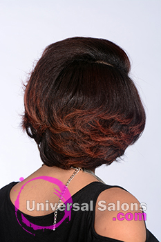 Back View of a Short Hairstyle with Red Hair Color for Black Women by Tanisha Holland