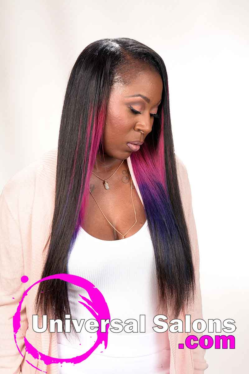 Long Sew In Hairstyle with Hair Color from Denise Granberry (4)