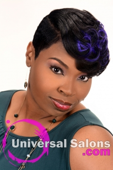 Short Hairstyle with Cobalt Blue Highlights from Kenya Young (2)