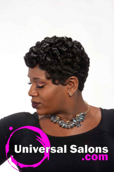 Left Side View of Short Pin Curls Hairstyle for Black Women from Octavia Bonnette (3)
