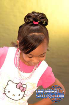 Model Looking Down Ponytail with Side Bangs Black Hairstyles for Little Girls