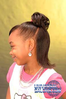 Left View Ponytail with Side Bangs Black Hairstyles for Little Girls