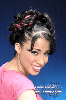 Curly Ponytail Hairstyle with a Swoop Bang and Red Highlights from Amanda Williams