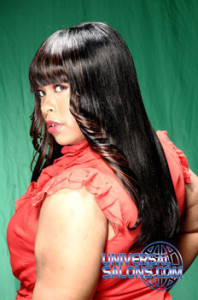 Vonchelique Liggins' Long Baby Doll Hairstyle with Highlights