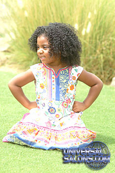Little Girl Looking Right with Tight Afro Curls