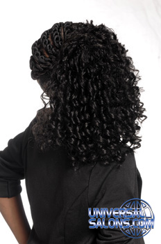 Back View: Cornrows on the Side and Tight Curls