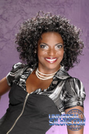 Jackie Evans' Sassy Lady Curly Black Hairstyle