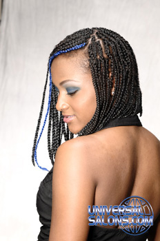 Cornrowed Underhand Braided Asymmetric Bob Hairstyle with a Hair Color