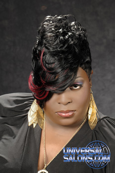 Teneica Donald's Short Hairstyle with Highlights and Curls