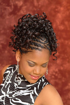Model Looking Down: Updo With Beautiful Curls Black Hairstyles for Little Girls