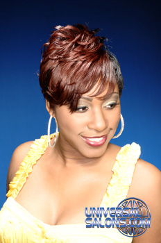 Short Hairstyle with Curls and Hair Color from Tamyka Malcolm