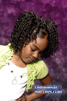 Model Looking Down: Pom Pom Pigtail Twists Black Hairstyles for Little Girls