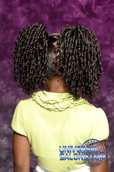 Back View: Pom Pom Pigtail Twists Black Hairstyles for Little Girls
