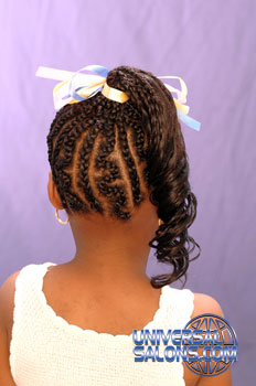Back Side: Cornrows and Curled Ponytail