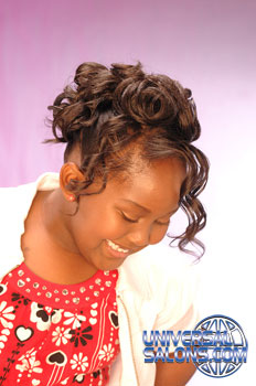 Model Looking Down: Back View: Curled Updo Black Hairstyles for Little Girls