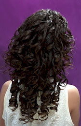 Back View: Cascading curls Ponytail Black Hairstyles for Little Girls