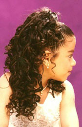 Right View: Cascading curls Ponytail Black Hairstyles for Little Girls