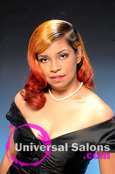 "Dre' Ramseur Blanton's ""Autumn Sunrise' Long Hairstyle with Color"