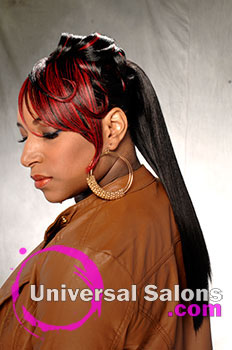 "Katina King's ""Lady in Red"" Long Ponytail with Hair Color"