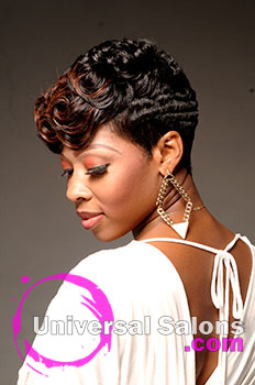 "Natasha Johnson's ""Ocean Curls"" Short Hairstyle with Hair Color and Pin Curls"