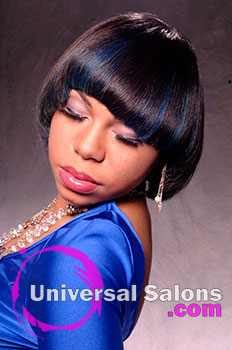 Bob Hairstyle with Royal Blue Highlights from Tenika Brantley
