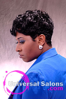 "Tasha Johnson's ""Onyx Swirl"" Short Curly Hairstyle"