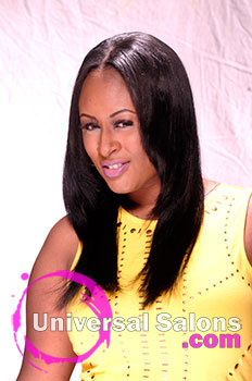 "Denise Granberry""s Long Sew In Hairstyle with a Middle Part and Virgin Hair"