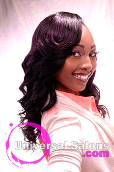 "Shakia Allen's ""Purple Rain"" Sew-In Long Hairstyle with Color and Curls"