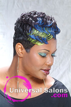 Short Pretty Peacock Black Hairstyle with Fantastic Feathers from Sierra Gibbs