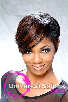 Denise Cummings' Short Auburn Feathers Haircut and Style