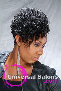 Motorcycle Hot Short, Curly and Natural Black Hairstyle by Ashley Coutain