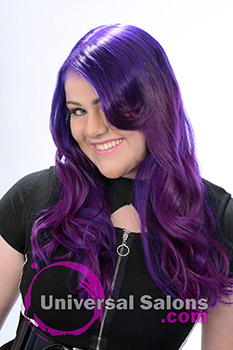 Deirdre Clay's Long, Flowing, Purple Prism Hairstyle