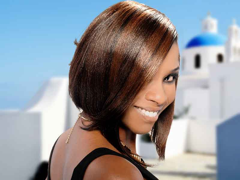 Short Hairstyle with Layers and Hair Color Ideas for Black Women