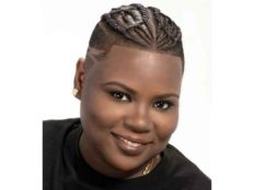 Short Hairstyle for Black Women with Twists at the Top