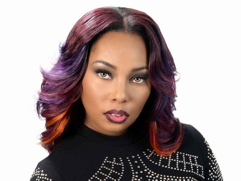 Long Sew-In Weave Hairstyle with Color from Nakia Boykin