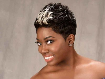 Short hairstyle for black women with color from Shay Walker