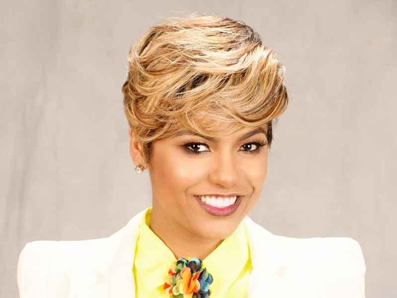 Short Hairstyle with Tapered Sides and Color from Tasha Hull