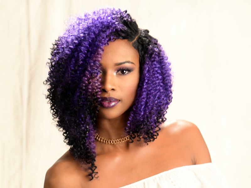 Curly Bob Hairstyle with Sew-In Purple Hair Color from Amber McClain
