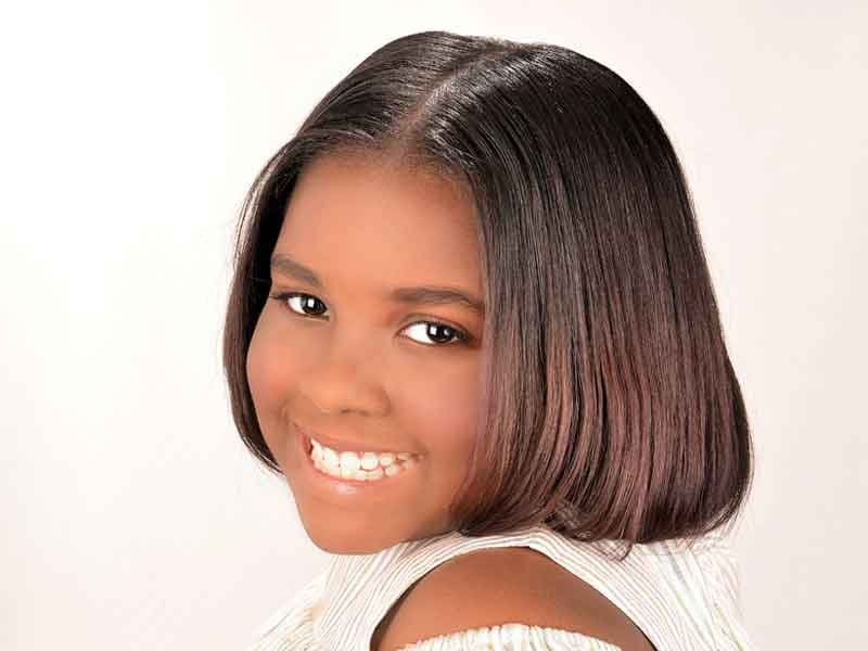 Beautiful Silk Press Natural Kid's Hairstyle from Dominique Blount