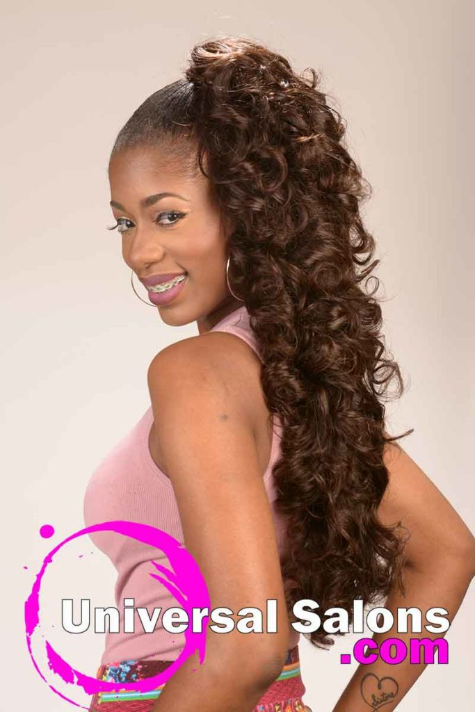 Left Side: Trendsetting Curly Invisible Ponytail by Alexandra Sims