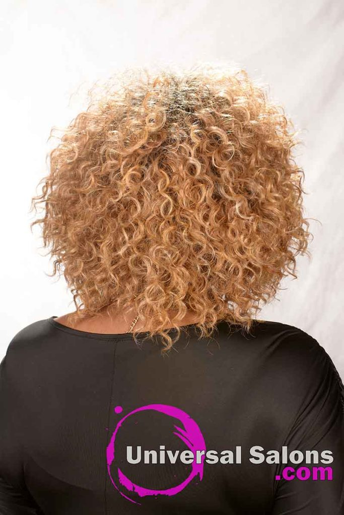 Back View: Blonde Curly Hairstyle for Black Women