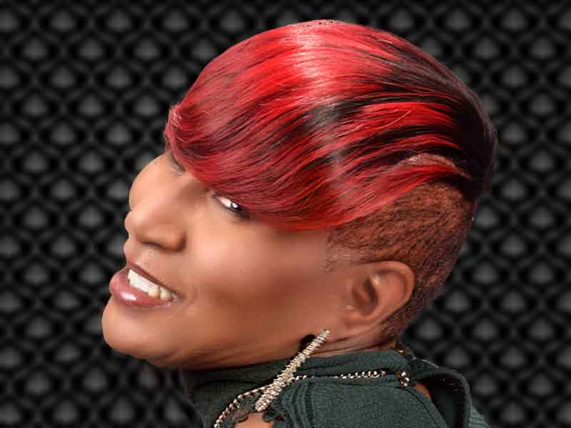 Short Hairstyle with Brassy Red Hair Color from Janee Hunter