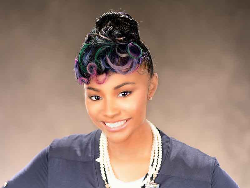 Beautiful Updo Hairstyle with Rainbow Highlights from Aniya Oden