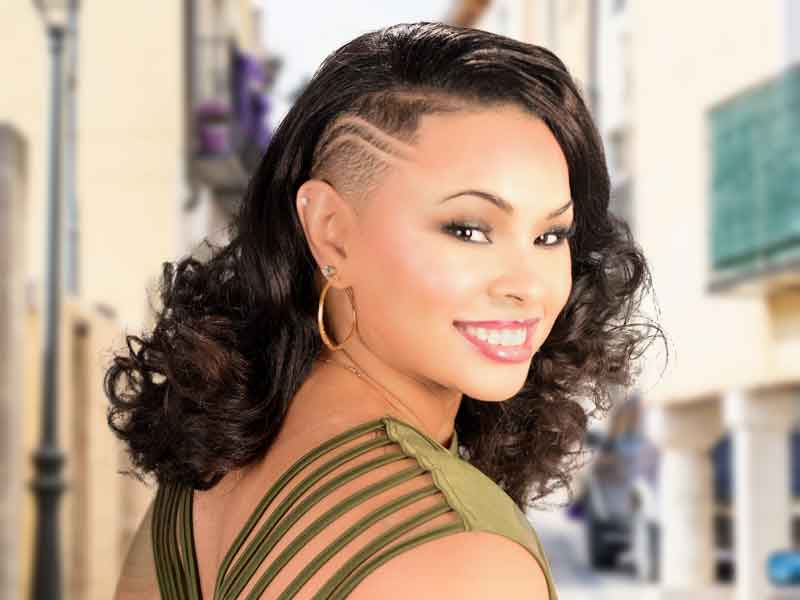 Natural Hairstyle With A Tapered Side And Curls From