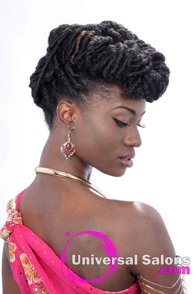 2nd Right View - All Locked Up Faux Locs Updo Hairstyle