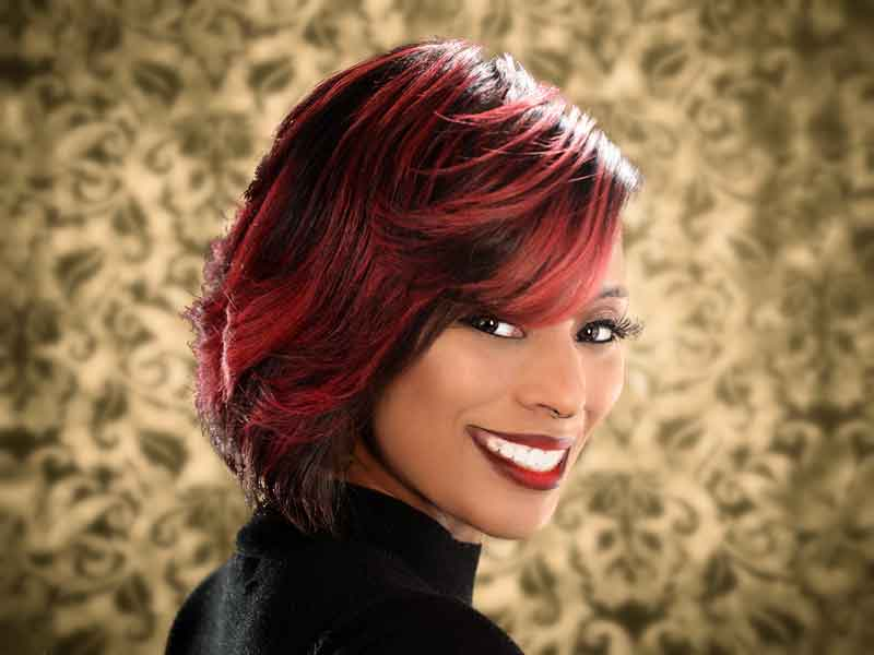 Bob Hairstyle with Feathered Layers from Nikia Gorham