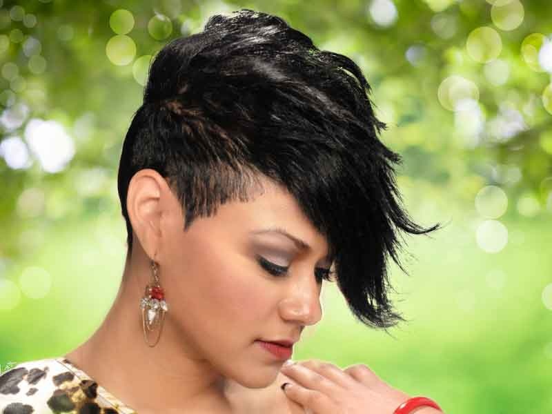 Short haircuts for Black Women with a Funky Bang